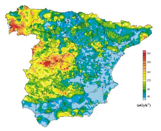 Mapa de radiación gamma en España (proyecto MARNA)